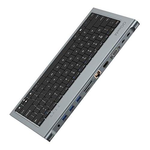 chollos oferta descuentos barato QGeeM HUB USB C Adaptador 11 en 1 Estación de Acoplamiento USB C con Teclado USB C a HDMI VGA 3 Puertos USB 3 0 Ethernet RJ45 PD de 100W Lector de Tarjetas SD TF Compatible con MacBook Pro