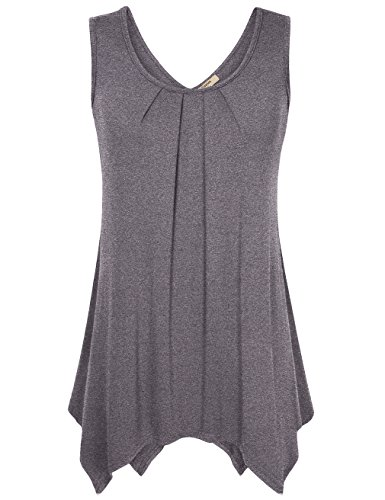 Casual Tops for Women,Timeson Sleeveless Asymmetrical High Low Flowy Tank Top Deep Grey Medium
