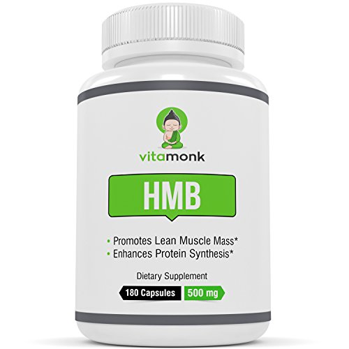 HMB by Vitamonk - Whopping 180 Capsules! Increase Lean Mass with Our Pure HMB Supplement - Faster Workout Recovery 500mg Per Capsule - 1000 Per Serving