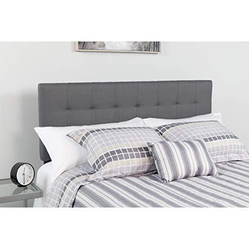 Flash Furniture Bedford Tufted Upholstered King Size Headboard in Dark Gray Fabric - HG-HB1704-K-DG-GG (Head King Size)