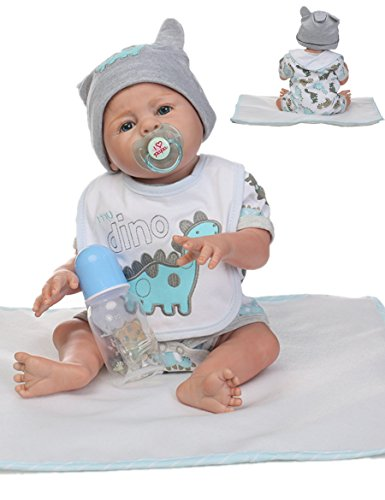 Reborn Baby Doll Boy Silicone Full Body Boy Realistic Anatomically Correct 20inch 50cm Weighted Baby Gray Doll