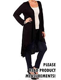 Women's Plus Size Light Weight Rayon Long Maxi Cardigan Sweater Sleeves