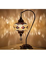New* BOSPHORUS Stunning Handmade Swan Neck Turkish Moroccan Mosaic Glass Table Desk Bedside Lamp Light with Bronze Base