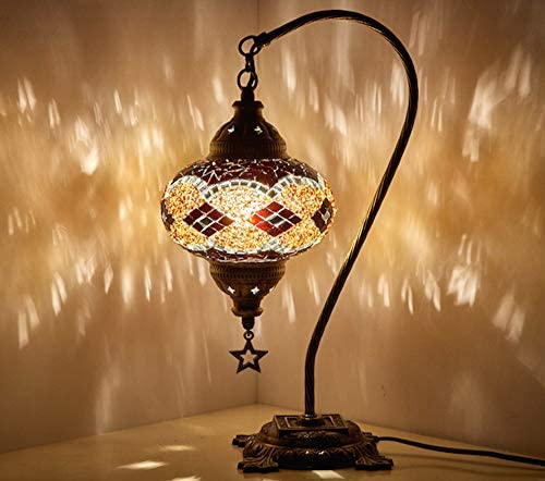 New BOSPHORUS Stunning Handmade Swan Neck Turkish Moroccan Mosaic Glass Table Desk Bedside Lamp Light with Bronze Base (Brown)