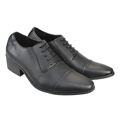 AN-Mens-Dress-Shoes-Embossed-Cap-Toe-Two-Tone-Sytle-Lace-Up