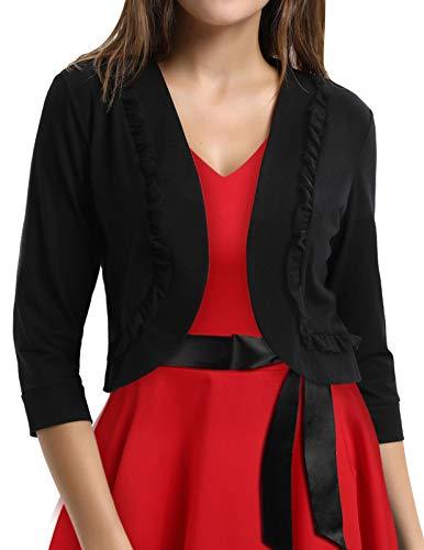 (Teen Girls Ruffled Crop Cardigan Dress Shrug (2XL,Black 772))