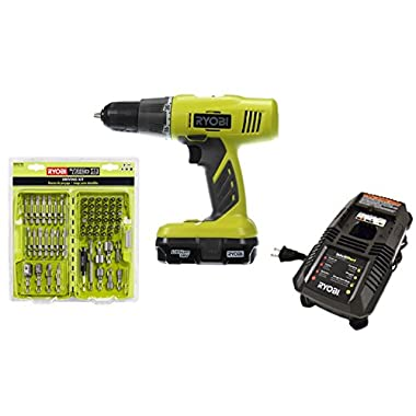 Ryobi P1810 Starter Drill Driving Kit with Charger, 18V Battery, and 68 PC bit set (Bundle 2 Items: P1810, AR2079G)