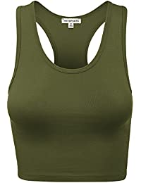996eb8b9d51 Women s Cotton Racerback Basic Crop Tank Tops