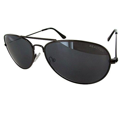 Kenneth Cole Reaction Gunmetal, Metal Aviator Sunglass, Smoke Lens KC1248 - Sunglasses Reaction Kenneth Men Cole