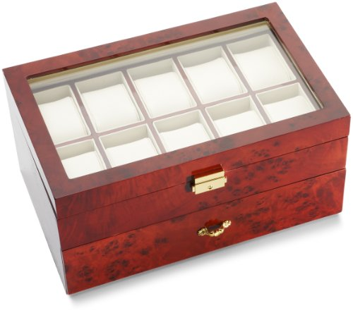 Diplomat Burl Wood 10 Watch and Pen Storage Chest ()