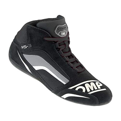 OMP Unisex-Adult KS-3 SHOES Black/white 44 - Karting Shoes