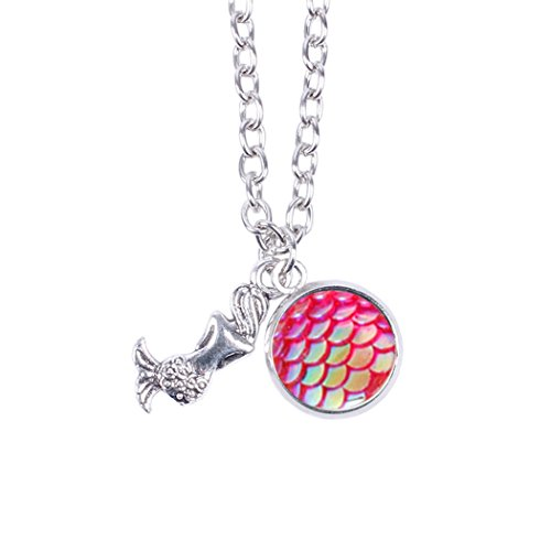 Myhouse Women Girls Colorful Fish Scales Pattern Mermaid Pendant Necklaces for Gifts Charms Findings (Rose Red)