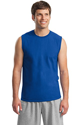 Gildan Rmk Ultra Cotton Sleeveless T-Shirt Black Training Shirts, Royal, ()