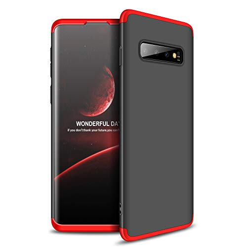 Topwin Galaxy S10 6.1'' Slim fit Case, Hard PC Ultra Slim Thin 360 Degree Full Body Protection 3 in 1 Matte Hybrid PC Case for Samsung Galaxy S10 6.1 inch (Black+Red) ()