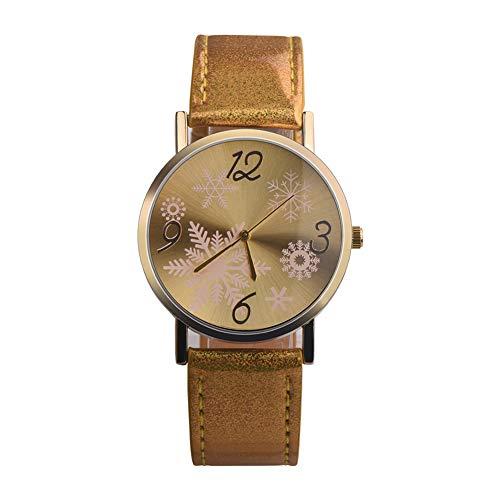 (lightclub 1Pc Christmas Snowflake Analog Quartz Faux Leather Band Couples Wrist Watch Golden)