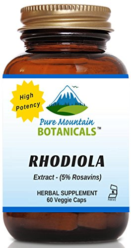 Rhodiola Rosea Supplement - 60 Kosher Vegetarian Capsules  Now with 500mg Rhodiola Root Extract Powder by Pure Mountain Botanicals