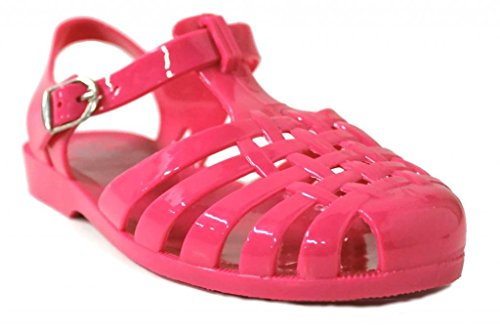 Kali Footwear Women's Angel-Low Fisherman T-Strap Jelly Flat Sandals 7 Hot Pink