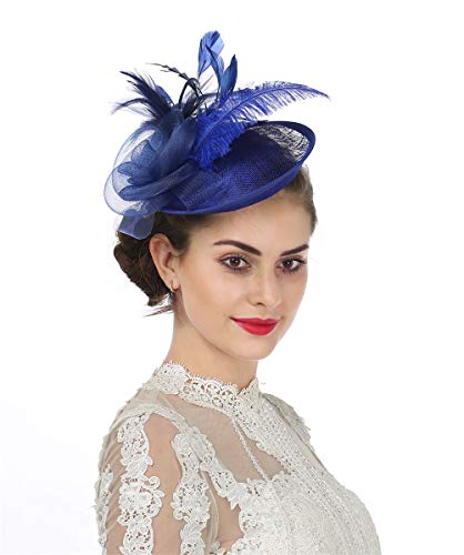 8e143eccdb697 Lucky Leaf Girls Women Patry Church Headwear Hair Clip Kentucky Derby  Fascinators Hats (4-Sapphire Blue)
