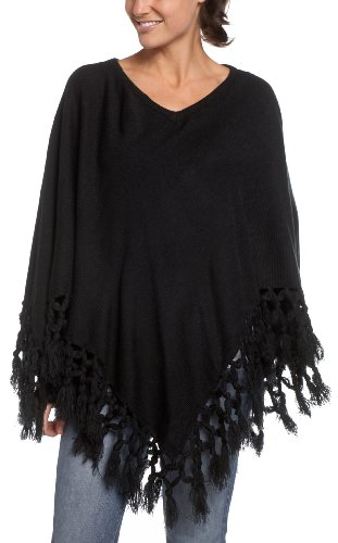 Jessica Simpson Women's Knit Poncho With Box Fringe, Black, One Size