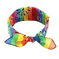 Hardli Rainbow Stripes Bandanas,Paisley Floral,Cotton Pocket Square Scarf, Cute Rabbit Ear Headband for Women Girl,Hip-Hop Wristband Neck Tie