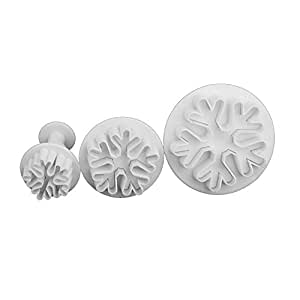 TOOGOO(R) 3pcs Snowflake Pattern Plunger Cutter Fondant Cake Cookie Biscuit Mold Craft DIY Decorating Tools Set