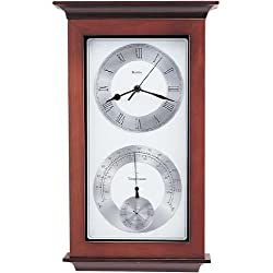Bulova C3760 Yarmouth Weather Station Clock, Walnut & Mahogany