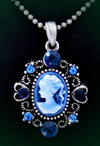 (Victorian Style Lady Cameo Austrian Royal Blue Crystal Pendant Rhinestone Necklace Set for Women Heart)