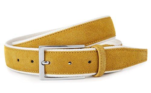 (Men's Genuine Suede Leather Golf Belt(36 Yellow))