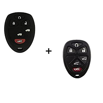 Replacement 6 Buttons Keyless Remote Key Fob Shell Case And Silicone key Cover For Cadillac Escalade Chevrolet Suburban Tahoe Traverse XL