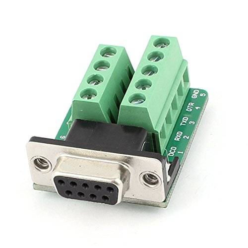 DealMux DB9 Female Adapter Plate to 2 Row 9 Position Terminal Breakout Board