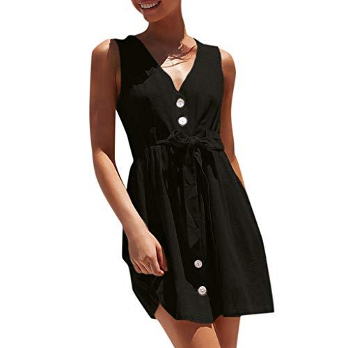 (Women's Summer Mini Dress Casual Sleeveless V Neck Button Solide Midi Party Dresses Sundress Knee Lenght with Belt Black)