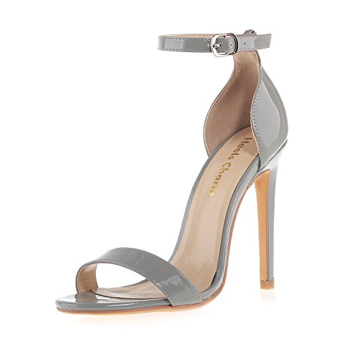 Women's Open Toe Stiletto High Heel Ankle Strap Sandals for Dress Wedding Party Evening Shoes Patent Leather Grey Size - Strap Women Shoe Stiletto Ankle