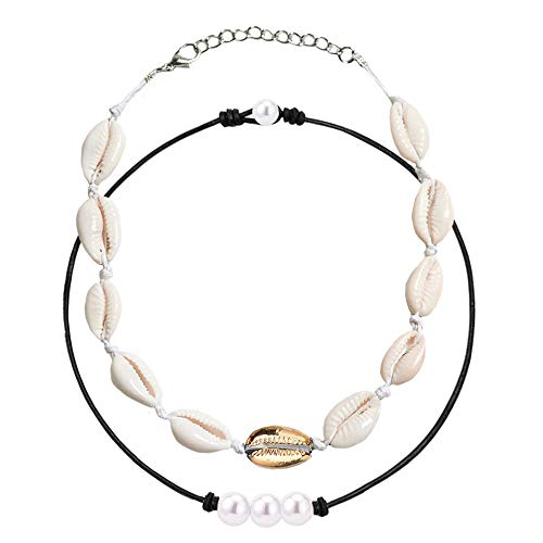 LQANG Pearl Shell Necklace Faux Fake Pearl Threader Choker Collarbone Chain Clavicle Necklace Women Girls Wedding Bridal Holiday Minimalist Shell Pendants Dangle Dangling Charms Jewelry 2 in 1