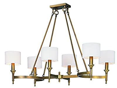 Maxim 22376OMNAB Fairmont 6-Light Chandelier, Natural Aged Brass Finish, Glass, CA Incandescent E12 Incandescent Bulb , 22+32W Max., Dry Safety Rating, 3000K Color Temp, Acrylic Shade Material, 3000 Rated Lumens