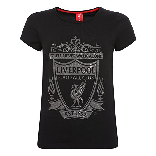Liverpool Soccer T-shirts - Liverpool FC LFC Ladies Black Crest Tee Official