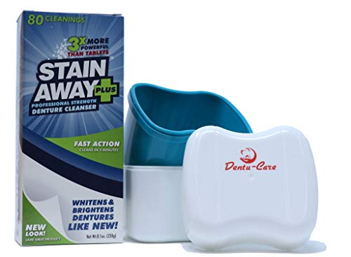Stainaway Plus Denture Cleaner 80 Cleanings Bundle With Dentu-Care Denture Case Bath Box With Lid Basket for Maintaining Good Clean Full/Partial Dentures and Mouthguards