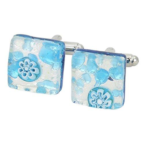 Glass Venetian Classic Square Cufflinks - Aqua Silver ()