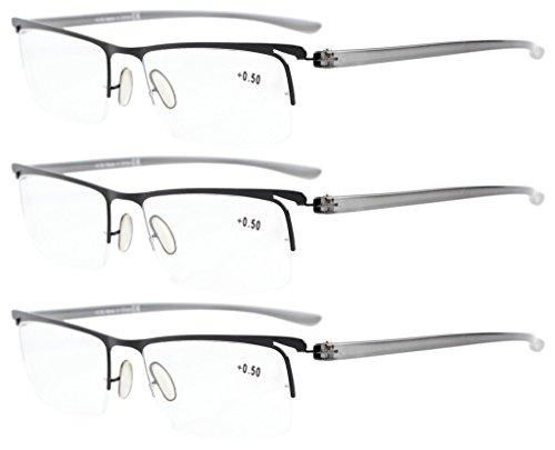 Eyekepper 3-Pack Plastic Temple Lightweight Half-Rim Reading Glasses Men Women Black +1.75 ()