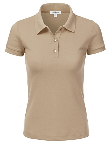 JJ Perfection Women's Classic 3-Button Short Sleeve Slim Fit Golf Polo Shirt Khaki S