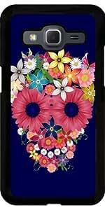 Funda para Samsung Galaxy Core Prime (SM-G360) - Cráneo Flores Azul Marino