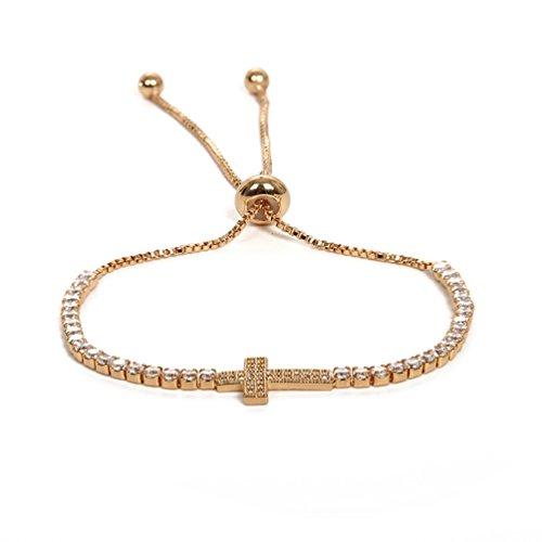 (SAKAIPA Adjustable Cubic Zirconia Cut Slider Tennis Gold Plated Butterfly Bracelet Women Jewelry (Golden Cross Bracelet))