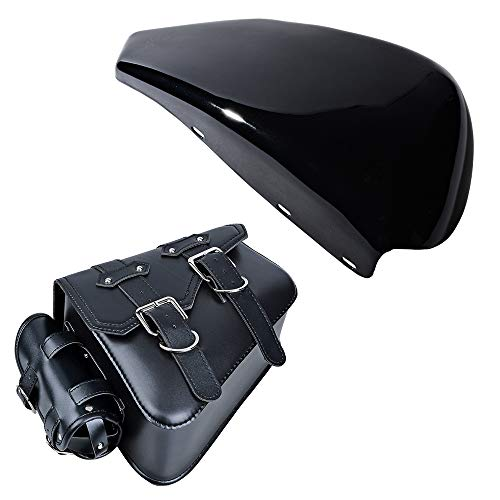 Glossy Black Left Side Battery Cover and Right Side Motorcycle Solo Saddle Bag Pannier Storage Compatible with 2004-2013 Harley Sportster XL 1200 883