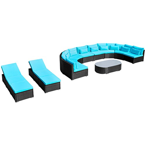 Festnight Luxurious XXL Rattan Furniture Set Garden Sofa Set with Sun Loungers, Blue/Red (Modular Furniture Rattan)