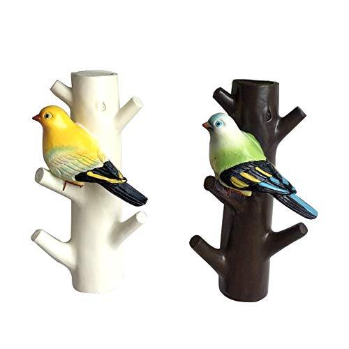 LittleFatBear Twig Bird Resin Hook Creative Bionic Resin Hook Resin Home Decoration Crafts (2 Packs).