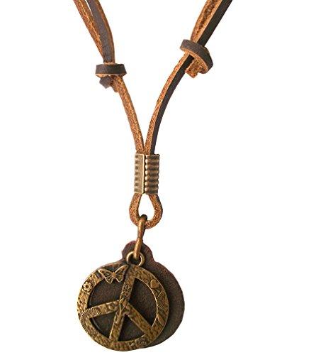 Ebsem Peace - Ying Yang - Hemp Necklace, Genuine Leather Cord Surfer Jewelry for Men & Women (Peace w/Butterfly)