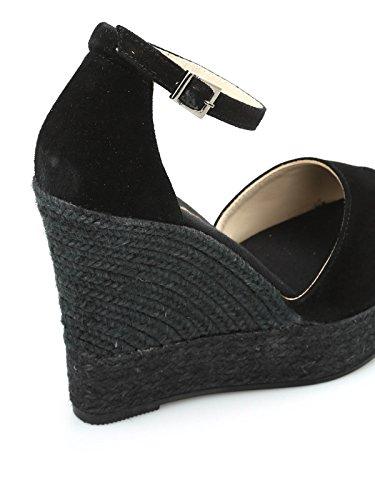 Suède Compensées Femme Noir Espadrilles SASHAANTENEGRO Chaussures CwF1xx6q