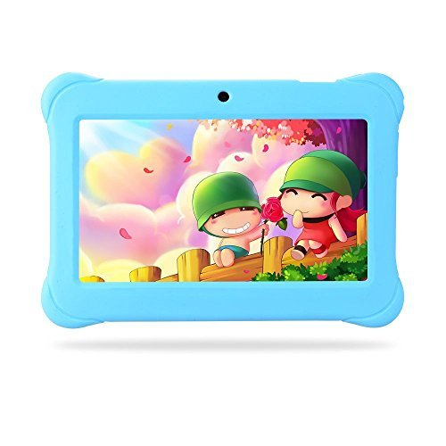 Alldaymall Tablets for kids 7 inch with Android Quad Core Wi-Fi and Dual Camera, 8GB+1GB, HD Kids Edition w/ iWawa Pre-Installed Bundle with Blue Kid-Proof Silicone Case (Third Generation)
