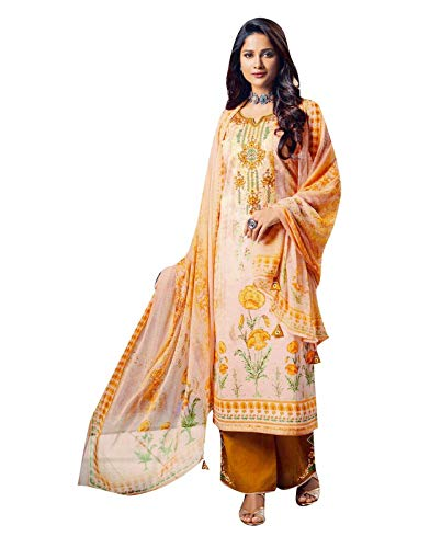 (Ladyline Salwar Kameez Cotton Handwork Embroidered Printed with Palazzo Pants Embroidery Salwar Suit (Size_50/ Beige))