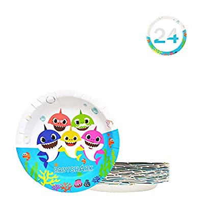 7 Inch Baby Cute Shark Party Birthday Plates, Birthday Party Supplies Decorations 24 Packs: Toys & Games