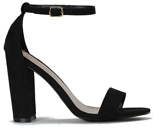 Image of LUSTHAVE Women's Open Toe Chunky Covered Block High Heel Ankle Strap Sandals